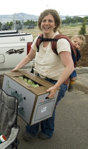 Me carrying lettuce with Everett on my back!
