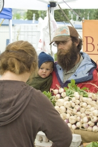 Josh and Everett selling turnips.