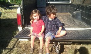 Ava and Everett - farm kids in the Ford truck.